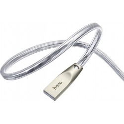 Кабель USB <-> USB 3.1 Type C, Hoco Zinc Alloy Jelly knitted, Silver, 1.2 м (U9)