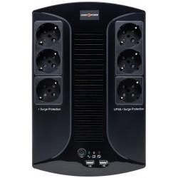 ДБЖ LogicPower 650VA-6PS Lin.int. AVR (650VA/390W), 6x Schuko